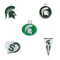 Wholesale Wholesale Michigan - Hot Sale Enamel Michigan State MUS College Spartans Pendant Dangle Charms For All DIY Bracelet Necklace Earring Fashion Sport Jewelry