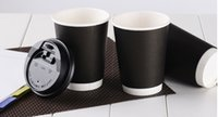 imprimir canecas venda por atacado-Atacado-20pcs 400ml copo de papel preto, calor isolado caneca de café descartável com duas camadas para lojas de café, impressão do logotipo está disponível