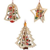 glockenpunkte groihandel-Holz Weihnachtsbaum Anhänger Cartoon Removable Ornament Fünfzackigen Stern Glocken Für Windows Dekoration Schöne 2 1zy B R