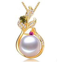 Wholesale 11mm white pearl pendant resale online - New mm oblate white natural pearl pendant necklace S925 silver Accessories