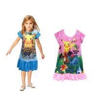 Wholesale children design dresses - NEW Hot girls dresses pokepatterns children nightgown Cartoon design POLYESTER kids pajamas dress 60pcs lot