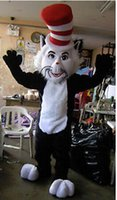 Wholesale Costume Halloween Mascotte - Hot Sale The Cat in the Hat Dr. Seuss Mascot Costume Halloween Costumes Fancy Dress theme Birthday Party Mascotte Kits Suit SW1605