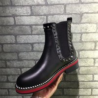 Wholesale Short Leather Cowboy Boots - 2017Christian 2017 CL Women Genuine Leather Fashion Chain Rivet Pumps Slip on Leather Shoes Black Gold Luxurious Brand Short Boots