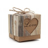 Wholesale wood bark - 1000pcs Wedding Hearts in Love Rustic Kraft Imitation Bark Candy Box with Burlap Chic Vintage Twine Wedding Favor Gift Boxes ZA0971