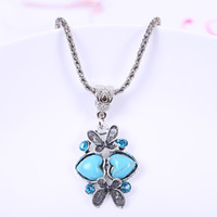 Wholesale Tibetan Butterfly Necklace Turquoise - Vogue Tibetan Silver plated Necklaces Comfort Present for Women Fashion Butterfly Shape Turquoise Necklaces with Crystals