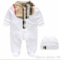 Wholesale Baby Fall Hat - 2 style Hot selling new arrivals fall baby kids climbing romper high quality cotton long sleeve Plaid collar autumn romper +hat 0-1T