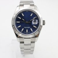 Wholesale Men Mechanical Wristwatch Steel - New Brand Mens Watch Date Blue Dial Automatic Movement Mechanical Stainless Sapphire Glass Original Clasp Men Watches Wristwatches