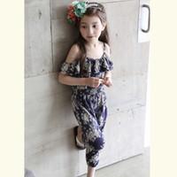 Wholesale Loose Suspenders Girl - Hot new Summer children floral printing jumpsuit girls falbala shoulder suspender pants kids cotton converalls one-piece A8871