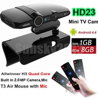 Wholesale Android Iptv Box Camera - HD23 Android TV BOX with 2.0MP Camera AllWinner H3 Quad Core 1G 8G Smart Mini PC WiFi Google IPTV Media Player Upgraded HD22 T3 Air Mouse
