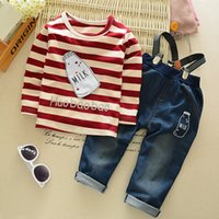 Wholesale Denim Overalls Sets - baby girl clothing 2pcs sets Milk bottle striped Long sleeve t shirt +denim overall set casual girls clothing outwear suits 0-3years