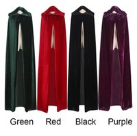 Wholesale Witch Cape Black - Adult Witch Long Purple Green Red Black Halloween Cloaks Hood and Capes Halloween Costumes for Women Men Free Shipping
