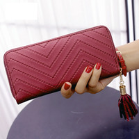 Wholesale Yellow Wallets For Women - Tassel Pu Women Wallet Fashion Wallet For Women Purse Luxury Designer High Quality Famous Brand