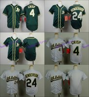 Wholesale Boys Athletic Shorts - Youth Oakland Athletics Jersey 4# Coco Crisp, 24# Rickey Henderson White Green Kid S M L XL