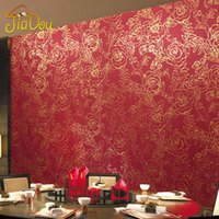 Wholesale Red Gold Wallpaper - Gold Foil Wallpaper 3D Red Peony Flower Glitter Wallpaper Waterproof KTV Marriage Room Bedroom Wall Decoration Wall Paper Roll