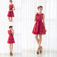 Wholesale Homcoming Mini Dress - 2017 Red Applique Lace Short Prom Dresses For 8th Grade Cocktail Party Dress Homcoming Graduation Gown Cheap