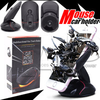 Wholesale Car Accessories Wholesalers - For Iphone7 Plus Phone Holders Mouse Car Mount Universal 360 Windshield Mount Bracket One Touch Mouse Suction Cup Cradle Accessories Stand