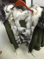 Wholesale Man Coat Fox - For fur coats 1:1 very good quality sliver fox fur trim Mr & Mrs Italy Raccoon And fox Fur lined Parka Mr & Mrs furs army jackets