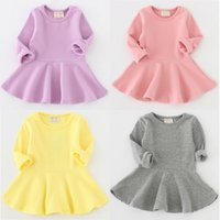 Wholesale Girls Dresses Lotus Tutu - 7 Colors Candy Color Girls Dresses Long Sleeve Pure Cotton Kids Dress Solid Children's Dress Lotus Leaf Baby New Girl's Dresses A7352
