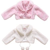 Wholesale Pink Jacket Fur Collar - New Flower Girls Wedding Party Faux Fur Wedding Bridal Jacket Coat Evening Bolero Kids Fall Winter Shrug Jackets In Stock
