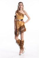 Wholesale Native Indian Costumes - Halloween costume Ladies Pocahontas Native American Indian Wild West Fancy Dress Party Costume