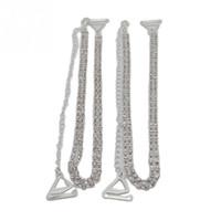 Wholesale Diamante Belts - Wholesale-1 Pair Women Clothing Intimates Adjustable Metal Double Row Bra Straps Crystal Diamante Rhinestone Bra Shoulder Belt