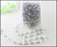 Wholesale Wholesale Crystal Bead Rosary - 5 Meter Lot Rhodium Plated White Spinel Rosary Style Beaded Chain,Wire Wrapped Beaded Chain Rosary Chain White Faceted Crystal Beads