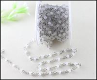 chapelet à perles blanches achat en gros de-Chaîne perlée de style chapelet de spinelle blanche plaquée par rhodium de 5 mètres / lot, chaîne de chapelet de chaîne de chapelet perlé par fil blanc perles en cristal facettées