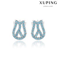 Wholesale Dh Lights - Xuping Light Blue Zirconia Stud Earrings Rhodium Plated Rosebud Copper Ear Stick For Young Lady Factory Price Earrings DH-17-10K001