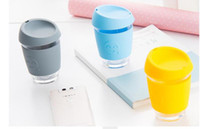 Wholesale Candy Design Brief - Candy Color Smile Glass Safe coffee Cup Coffee Design Smile Print Mugs Travel Reusable Glass Cup 15 Color 50pcs