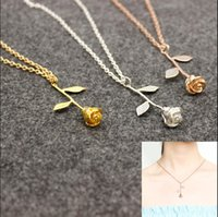 Wholesale Wholesale Delicate Chains - New Luxury Fashion Delicate Rose Necklace Beauty and the Beast Final Rose Flower Rose Gold Silver Pendant