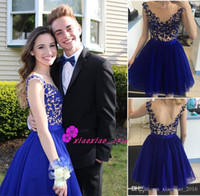 Royal Blue Lace Tüll 2016 Mini Länge Heimkehr Kleider mit Sheer Scoop Neck Straps Backless Nude Short Sweet 16 Graduierung Kleider Günstig