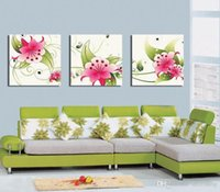 Wholesale beautiful flower art painting resale online - Modern Beautiful Flower Fine Floral Painting Giclee Print On Canvas Home Decor Wall Art Set30362