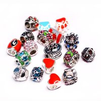 Wholesale Teardrop Blue Rhinestone - Mix Silver Big Hole Loose Beads For Pandora Style Crystal Rhinestone Charm Beads Fit Snake safety chain European Christmas Jewelry