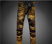 Wholesale Men Jeans Paints - 2017 new Mens Punk Jeans Skinny Runway Distressed Elastic Jeans Denim Biker Hiphop Pants Golden Silver Jeans For Men