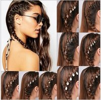 Wholesale Leaves Ornament - Personality deduction casual hair clip metal round buckle small braid headdress leaves stars hair ornaments 017
