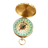 Wholesale Brass Navigation Compass - Outdoor Sports Camping Hiking Portable Brass Pocket Golden Multifunction Fluorescence Compass Navigation Hot Wholesale Gadgets 2503037