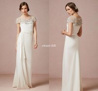 Wholesale Cheap Short Casual Wedding Dresses - BHLDN Crystals 2016 Wedding Dresses Vintage Inspired Beaded Casual Wedding Dress Sash Ivory Short Sleeves Summer Beach Bridal Gowns Cheap