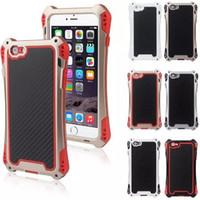 Wholesale Carbon Fiber Aluminum Case - R-JUST AMIRA Extreme Aluminum Metal Carbon Fiber Waterproof Shockproof Case Cover for iPhone 6S 5S Samsung S6 S5
