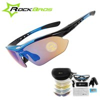 Wholesale Rockbros Polarized Sunglasses - RockBros Polarized Cycling Sun Glasses Outdoor Sports Bicycle Glasses Bike Sunglasses TR90 Goggles Eyewear 5 Lens,4 Colors