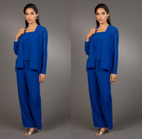 Wholesale Coats For Mother - 2016 Modest Royal Blue Pants Suits for Mother Bride Sexy Bateau Neck Long Sleeve Coat Plus Size Chiffon Mother of the Bride Dress