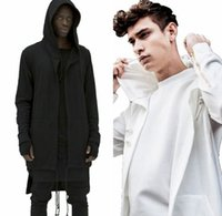Wholesale Long Style Sweatshirts - New spring and summer 2016 men's European style hooded sweater long cardigan assassin cloak cape coat Hoodies Sweatshirts