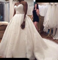 Wholesale long lace dresses tail for sale - Group buy Real Image Bridal Sweetheart Wedding Dresses Line Ball Gown Lace Long Tail Cheap Wedding Gowns From Cihina