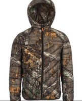 Wholesale Short Hunting Jacket - Wholesale- The new bionic camouflage Thin and light warm hooded Slim jacket men and women short paragraph White goose down Windproof