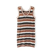 Wholesale Vintage Sweater Vests - Casual Dresses for Women 2017 Fashion Stripes Hit Color Knitted Sleeveless Round Neck Collar Sweater Vest Dress