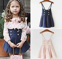 Wholesale Korea Suspenders - New Autumn Girls Strap Dress Korea Fashion Kids Double-breasted Tutu Party Skirt Princess Suspender Dress Children Clothes Navy Pink 12049