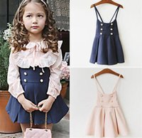 Neue Herbst Mädchen Strap Kleid Korea Mode Kinder Double-breasted Ballettröckchen Party Rock Prinzessin Suspender Kleid Kinder Kleidung Navy Pink 12049
