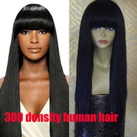 Wholesale Remy Hair Wigs Bangs - With bangs 300 density Thich 100% brazilian glueless Straight lace front wig with baby hair brazilian high density wig bleachedkont