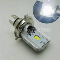 Wholesale Led Cree Turn Signal Motorcycle - 100% Genuine LED Motorcycle Headlight Bulbs H4 HS1 plug DC AC12V 6W 800LM High Low Beam Cree COB Moped Scooter Motobike lamp