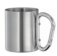 Wholesale Stainless Steel Carabiner Mug - 100pcs very cheap Stainless Steel Coffee Mug Camp Camping Cup Carabiner Hook Double Wal mug Free Shipping