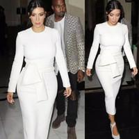 robe moulante blanche kim kardashian achat en gros de-Nouveau Femmes Sexy Bodycon Bandage Dress À Manches Longues 2016 robes Automne Kim Kardashian Crayon Dress Blanc